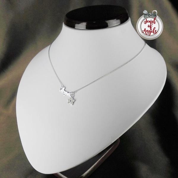 สร้อยคอแฟชั่นชุบทองคำขาว18Kจี้Angelsห้อยดาวประดับคริสตัล