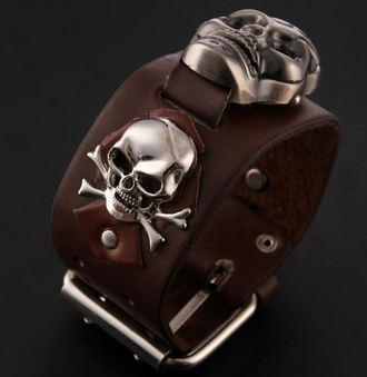 นาฬิกาข้อมือ แนวร็อค รูปหัวกะโหลก สายหนังแท้ สีน้ำตาล และ สีดำ นาฬิกาข้อมือแบบพังค์ ลดราคา no 84778