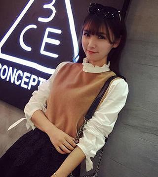 Best N Eve เสื้อแขนยาว ผ้าคอตตอน รุ่น BNE1502-YCS023 - Khaki with White Sleeves