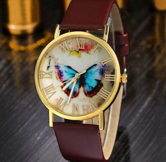 นาฬิกาข้อมือผู้หญิง นาฬิกาสายหนัง Pu หน้าปัดลาย ผีเสื้อ กรอบทอง สีน้ำตาล คลาสสิค สินค้าจัดโปรโมชั่น ลดราคาพิเศษ สุด ๆ 276267_1