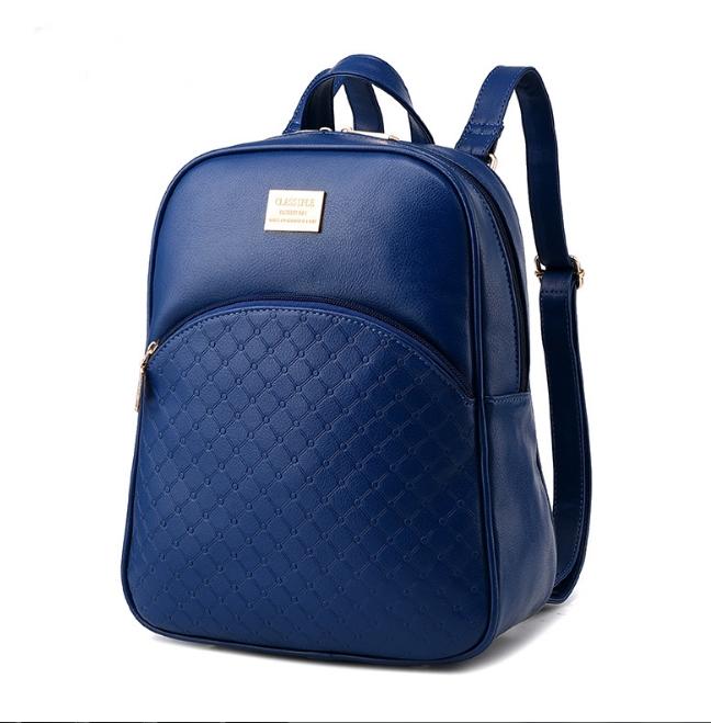 [ ลดราคา ] - กระเป๋าเป้แฟชั่น สไตล์ยุโรป สีน้ำเงิน ปั้มลายตาราง ดีไซน์สวยเรียบหรู งานหนังคุณภาพ เหมาะสำหรับสาวๆ ที่ชอบงานมีสไตล์เป็นของตัวเอง