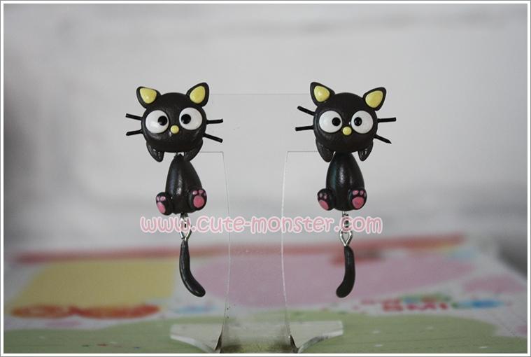 ต่างหูดินปั้น แมวดำ Choco cat Earrings