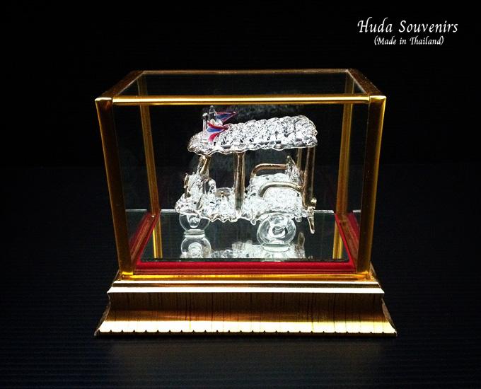 """ของที่ระลึกไทย แก้วเป่าทองตู้กระจกลวดลายรถตุ๊กๆ ขนาด 3"""" 4"""" 6"""" 8"""" 11"""" 12"""" 16"""" 18"""" 24"""""""