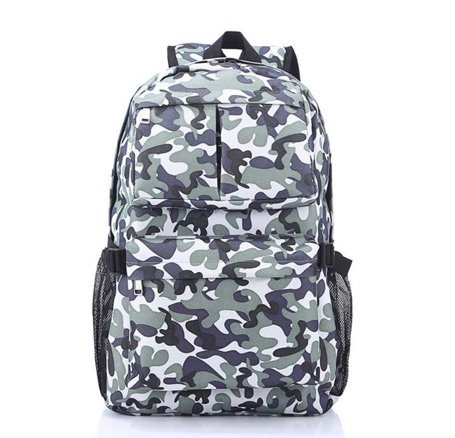 [ พร้อมส่ง ] - กระเป๋าเป้แฟชั่น นำเข้าสไตล์เกาหลี ลายทหารโทนสีเทาอมเขียวเท่ๆ ใบใหญ่ ดีไซน์สวยเก๋ เท่ไม่ซ้ำใคร