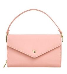 [ Pre-Order ] - กระเป๋าสตางค์แฟชั่น สไตล์เกาหลี สีชมพูอ่อน ใบใหญ่(รุ่นใหม่หนังสวย) แต่งมงกุฎ งานหนังอัดลายสวยน่ารัก น่าใช้มากๆค่ะ