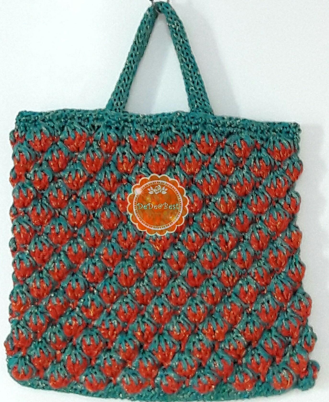 B68:Handmade bag กระเป๋าถักเชือกร่มดิ้นทอง สตอเบอรี่สีแดง+สีเขียว สินค้าใหม่ค่ะ