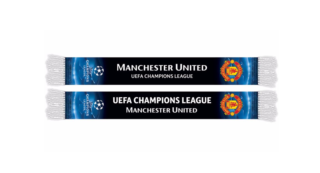 ผ้าพันคอแมนแมนเชสเตอร์ ยูไนเต็ด UEFA Champions League Printed Scarf สีดำ