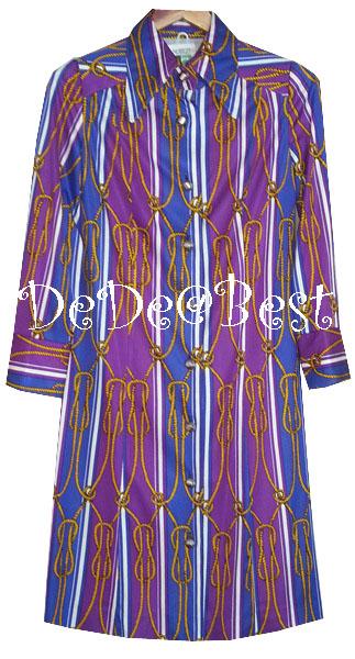 ขายแล้วค่ะ D48:Vintage dress เดรสวินเทจผ้าโพลี ลายเกลียวเชือกสีทอง&#x2764