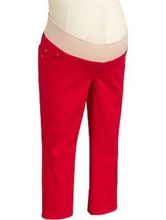 กางเกงคนท้องขา3ส่วน Oldnavy Maternty Low-Panel Skinny สีแดง
