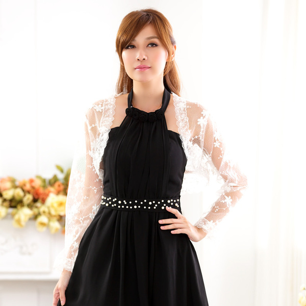 เสื้อคลุมผ้าลูกไม้ แขนยาว สีดำ/สีขาว (XL,2XL,3XL,4XL) JK-9713