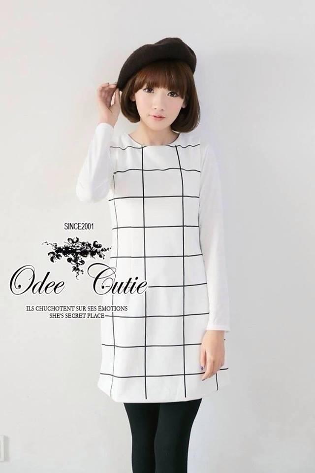 Black&White blocking mini dress