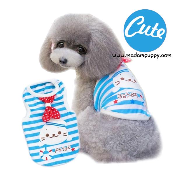เสื้อหมา เสื้อกล้ามหมา ลายแมวน้ำ สีฟ้า พร้อมส่ง