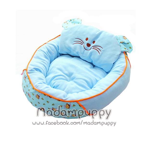 ที่นอนน้องหมา เบาะนอนรูปแมว สีฟ้า ไซส์ M