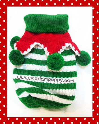 เสื้อสุนัข ไหมพรมคริสมาสต์ ขาว-เขียว พร้อมส่ง