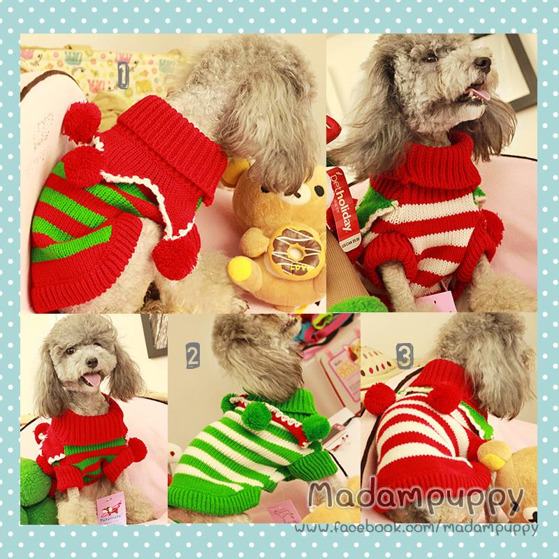 PRE เสื้อผ้าน้องหมา เสื้อกันหนาวไหมพรมคริสมาสต์