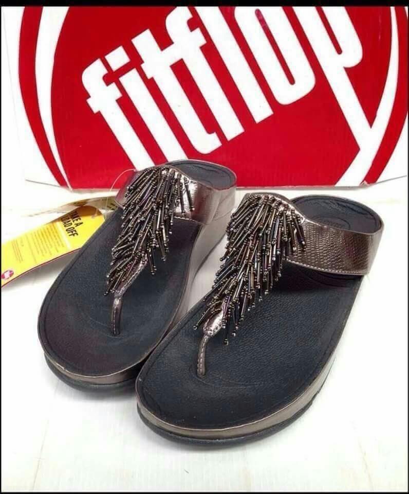 รองเท้า Fitflop Chacha สีเทาอมน้ำตาล หนังงู No.F0766