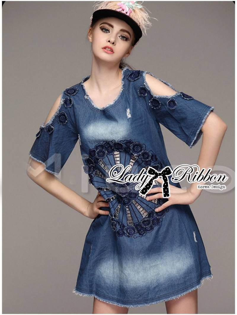 Lady Ribbon's Made Lady Rose Embroidered Cut-Out Shoulder Denim Dress
