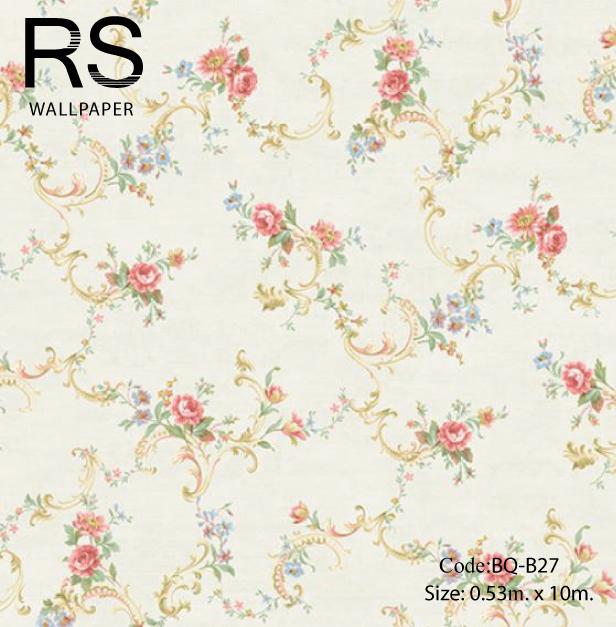 วอลเปเปอร์ลายดอกไม้สไตล์หลุยส์วินเทจมีดอกสีชมพูอ่อน ฟ้าใบสีเขียวแก่พื้นสีขาวเหลืองเงา BQ-B27