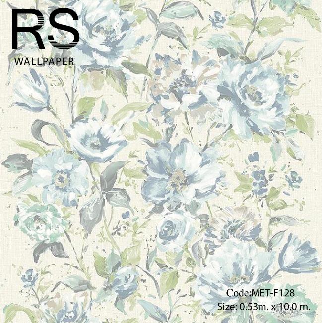 วอลเปเปอร์ลายดอกไม้ภาพวาดโทนสีฟ้าพื้นภาพสีเทาอ่อน MET-F128