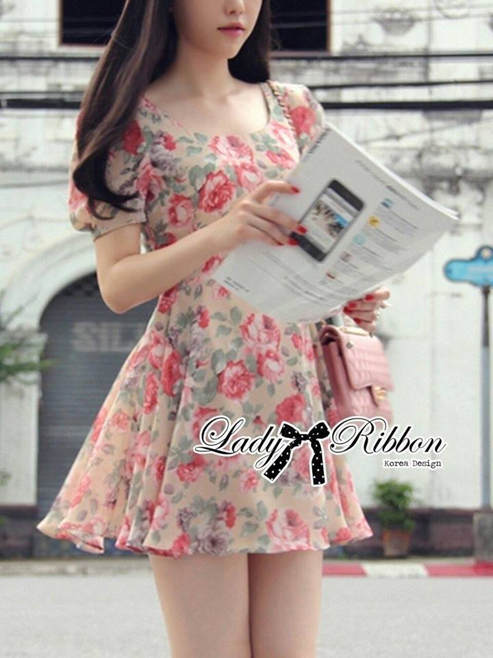 Lady Ribbon's Made Lady Rosie Sweet Flowery Chiffon Mini Dress