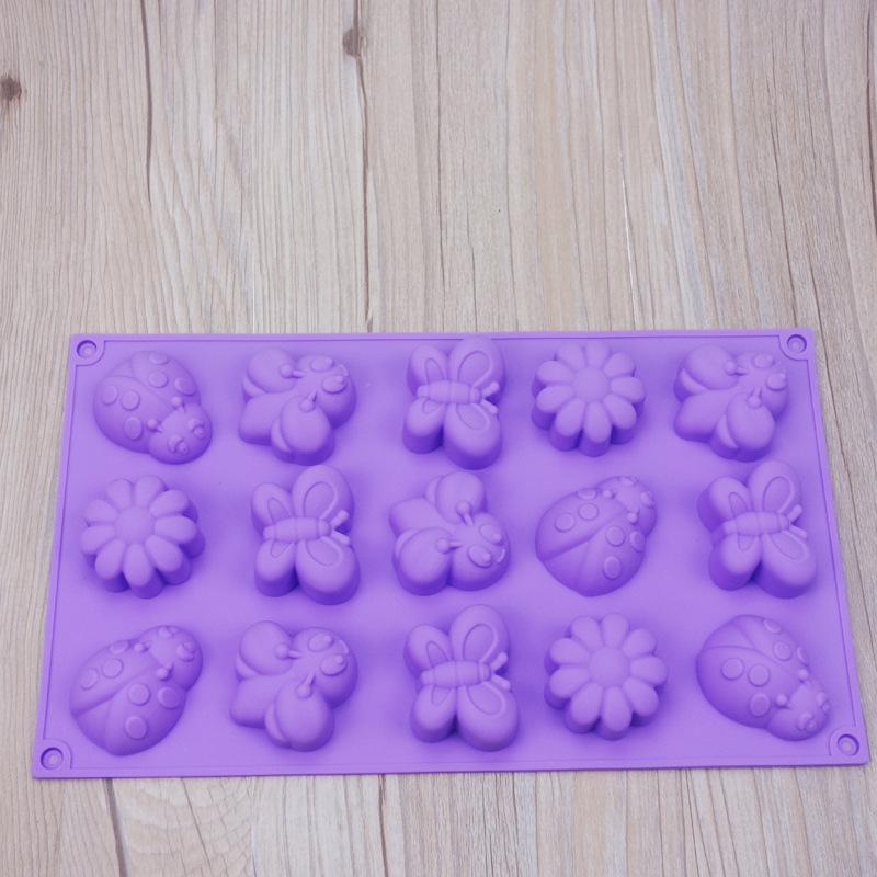 พิมพ์ซิลิโคน รูปผีเสื้อ ดอกไม้ 15 ช่อง
