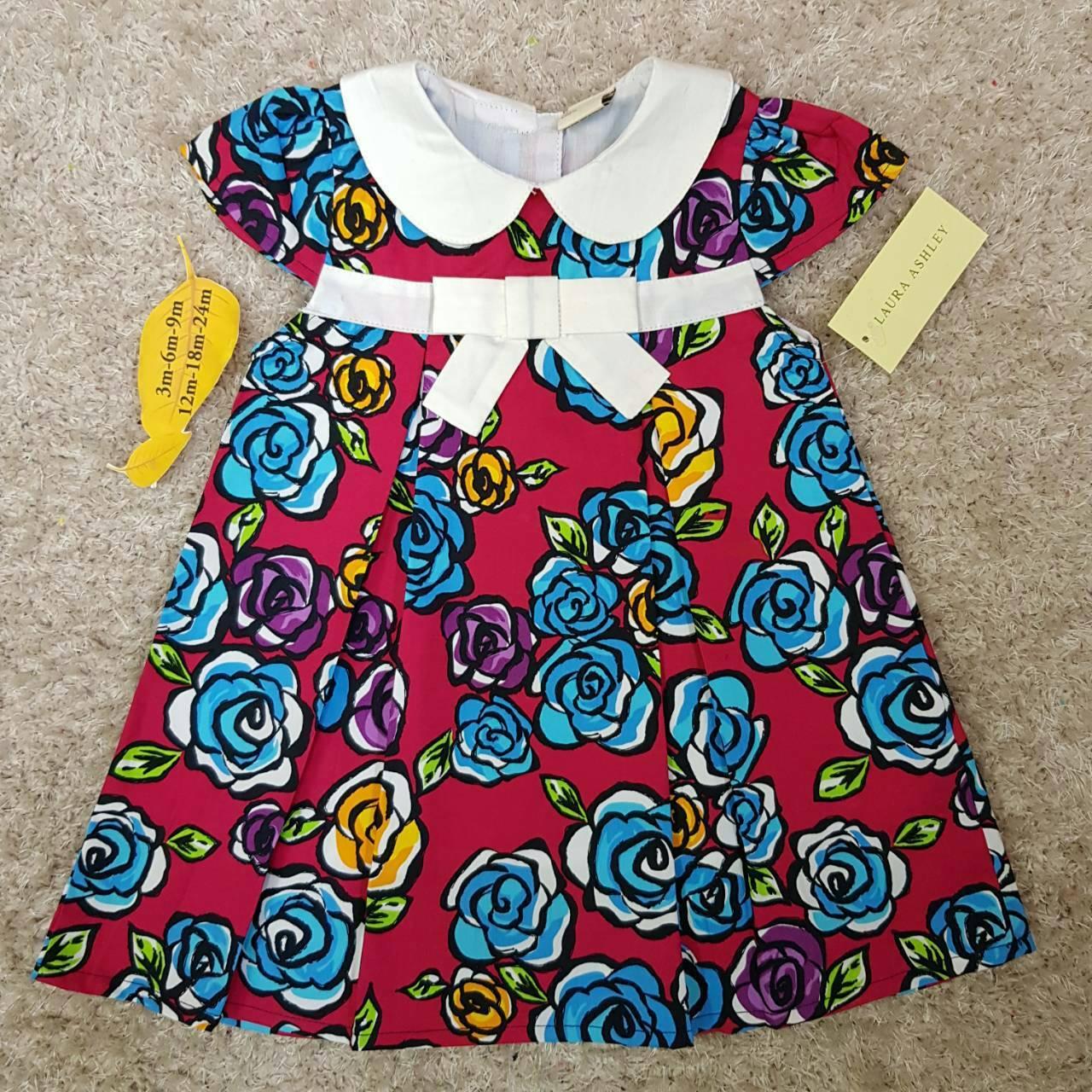 เสื้อผ้าเด็ก แรกเกิด-9เดือน size 3m-6m-9m ลายดอกไม้ คอปกสีขาว