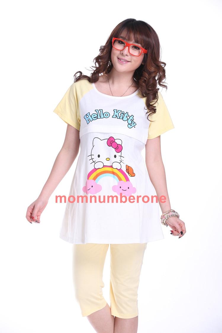 Mix56004Yellow ชุดเซ็ทเสื้อ+กางเกงคิตตี้เรนโบว์สีเหลือง