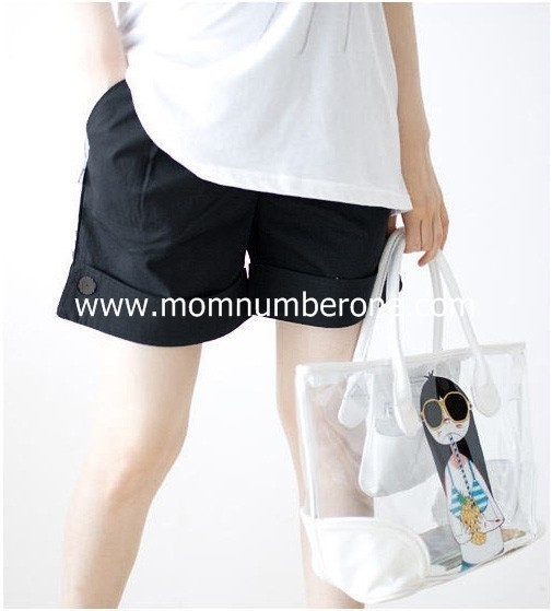 TL39036Black กางเกงคลุมท้อง ขาสั้นสีดำ Size L
