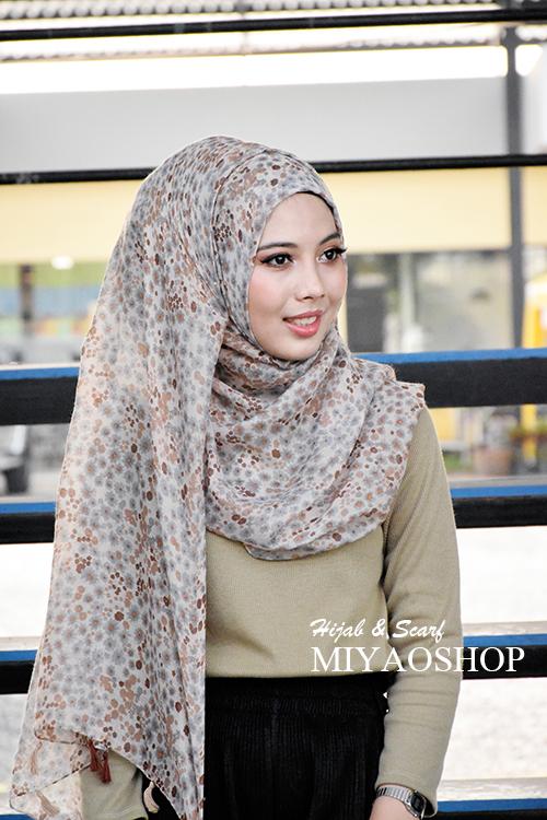 ผ้าคลุม อิสลาม วิสคอส viscose พิมพ์ลาย ดอกไม้ โทน น้ำตาล HJ07010