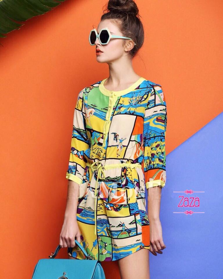 เสื้อผ้าเกาหลี พร้อมส่ง มินิเดรสทรงปล่อย เนื้อผ้าพิมพ์ด้วยลายสีสรรสวยงาม