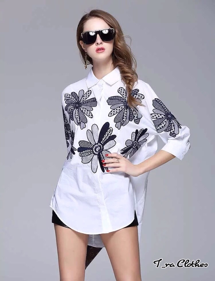 เสื้อผ้าเกาหลีพร้อมส่ง เสื้อเชิ้ตงานปักเนื้อ Cotton100% เนื้อดีงานปักละเอียด