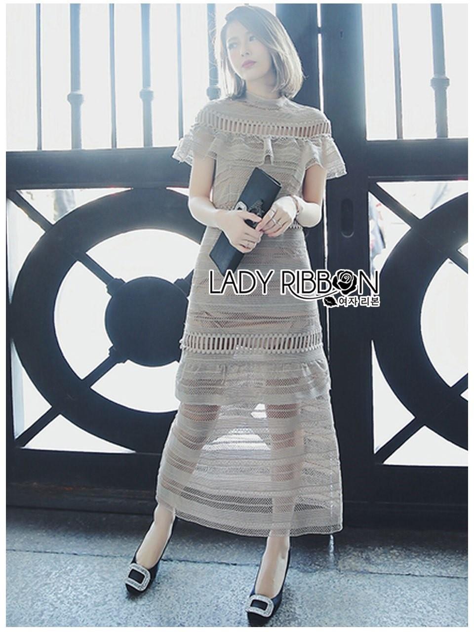 ชุดเดรสเกาหลีพร้อมส่ง เดรสยาวผ้าลูกไม้สีน้ำตาลกากีจากแบรนด์Self Portrait
