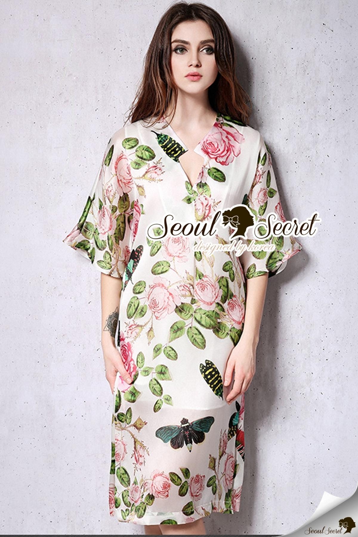 ชุดเดรสเกาหลี พร้อมส่งPink Rose Print Dress