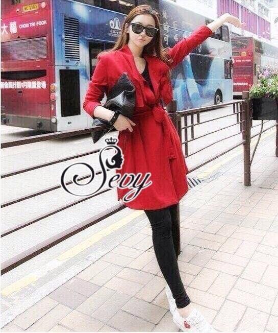 เสื้อผ้าเกาหลี พร้อมส่ง เสื้อโค้ทตัวยาว สามารถใส่เป็นเดรสหรือคลุม ได้เก๋ๆ