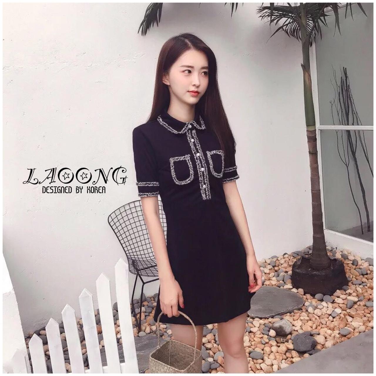 ชุดเดรสเกาหลีพร้อมส่ง Dress แขนสั้นคอปกสีดำ