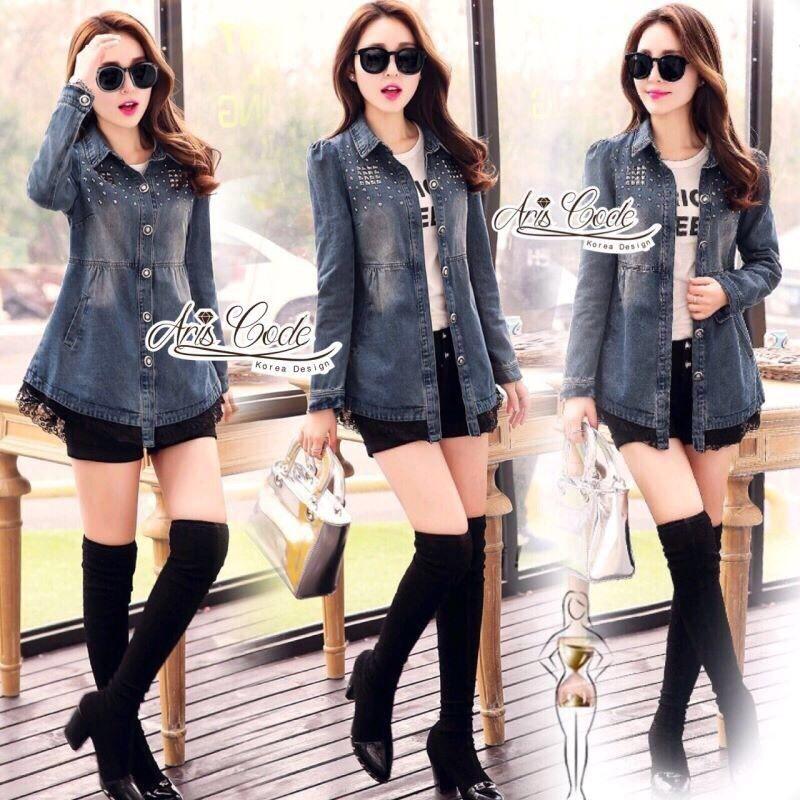 Jeans jacket female spring Korean lace long-sleeved shirt