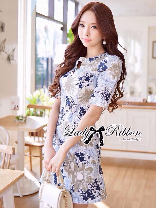เสื้อผ้าเกาหลี พร้อมส่ง เดรสพิมพ์ลายดอกไม้สีฟ้า-น้ำตาลสุดหวาน