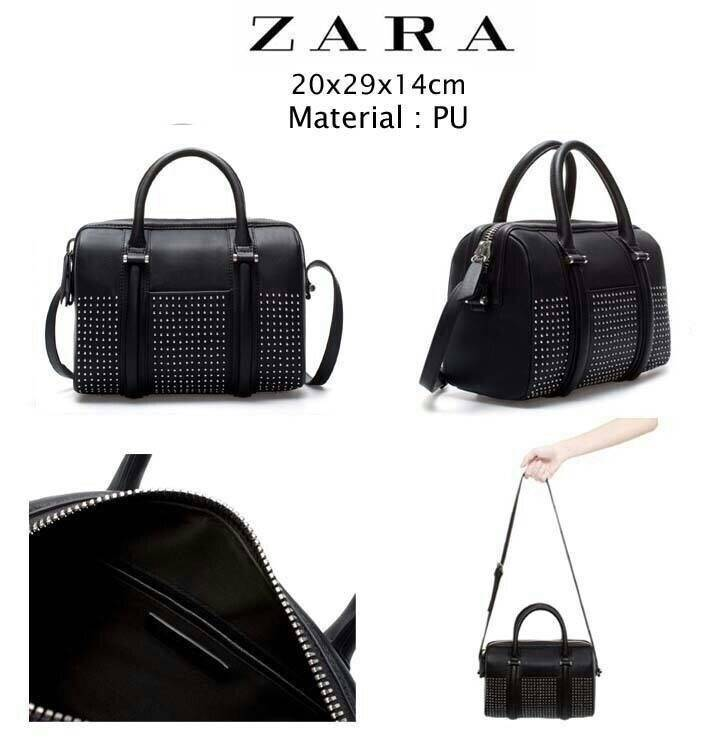ZARA STRUCTURED BOWLING BAG WITH POCKET AND STUDS