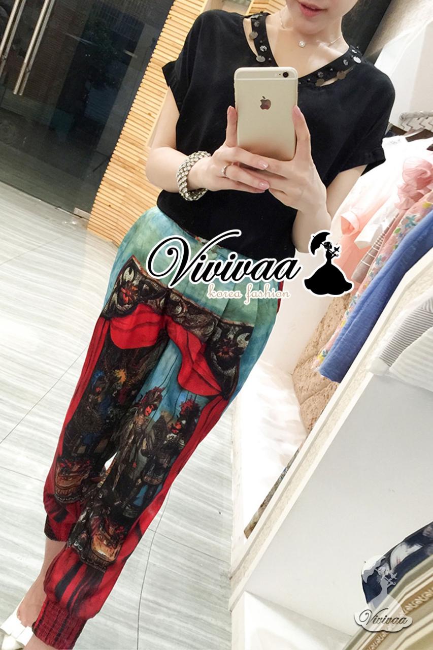 เสื้อผ้าเกาหลี พร้อมส่งD&G style print chic set