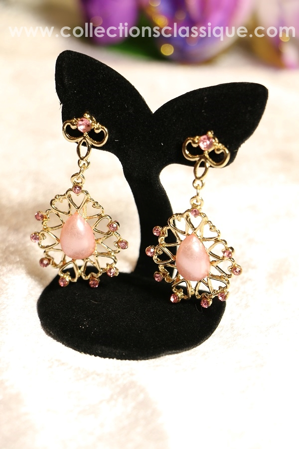 E79016 Pink Chandelier ต่างหูระย้า