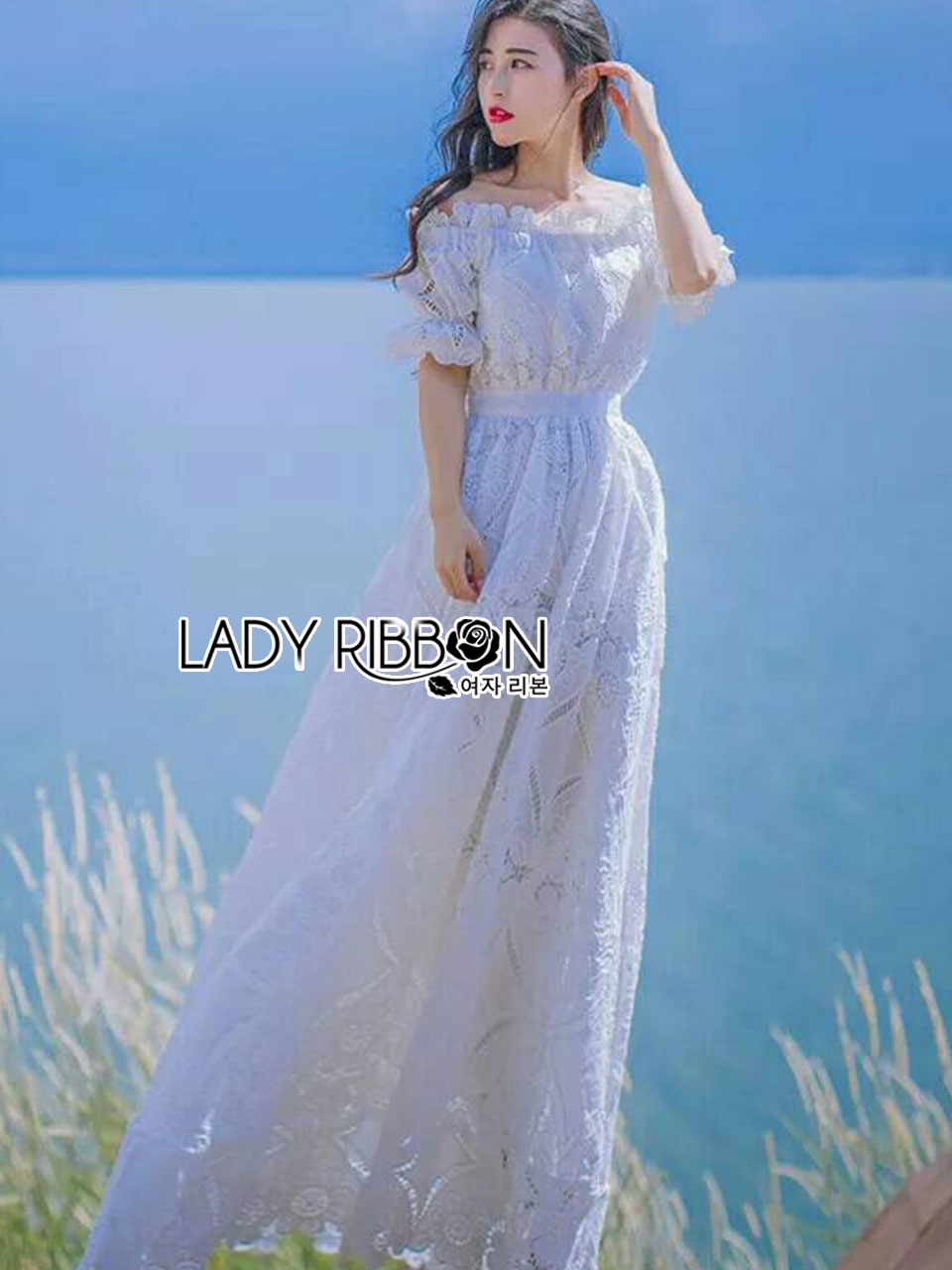 Julienne Country Chic Off-Shoulder White Lace Dress