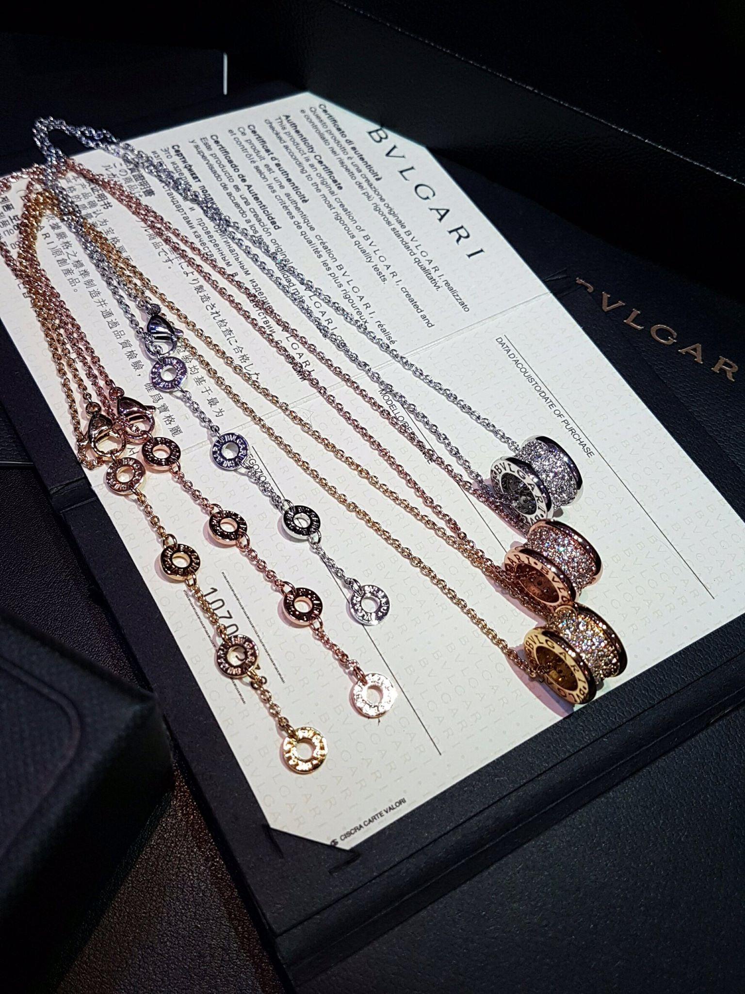 พร้อมส่ง Diamond Bvlgari Necklace สร้อยคอบูการี่เพชรฝังCZ8Aรอบ งาน1:1