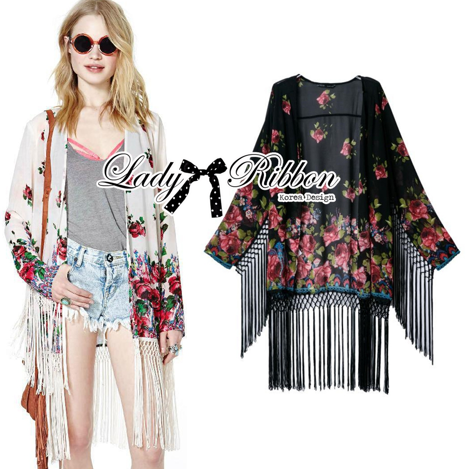 Ria Hippy Floral Printed Fringe Outerwear