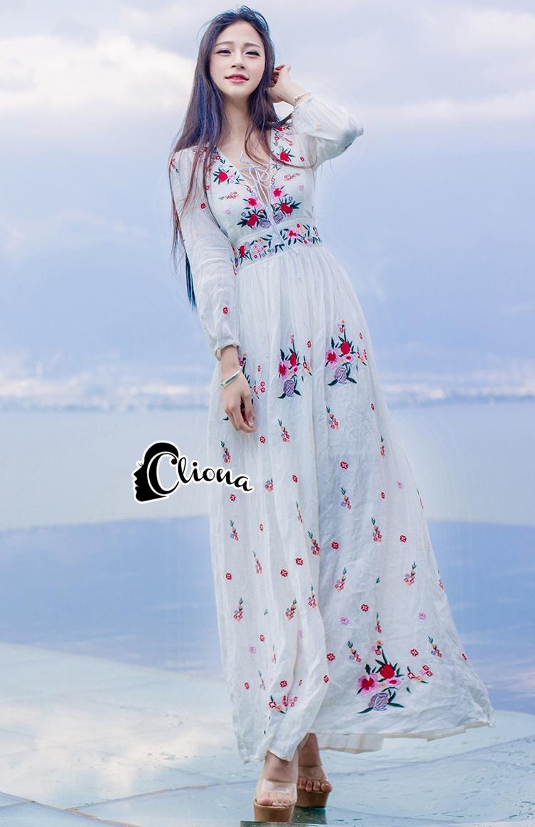 Emroidered Beach Luxury Long Dress
