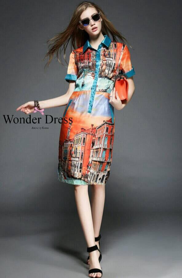 เสื้อผ้าเกาหลี พร้อมส่งชุดเดรสลายใหม่ พิมพ์ลาย สวยงามโทนสีสดใส