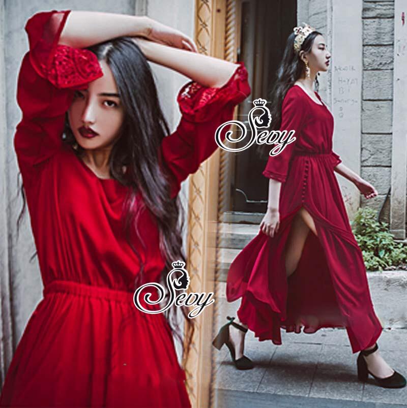 European Chiffon Red Hot Showing Leg Long Sleeve Maxi Dress