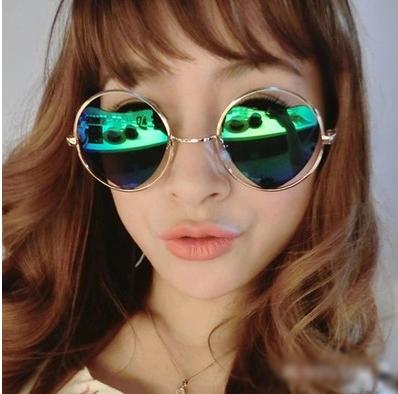 แว่นตากันแดดแฟชั่นเกาหลี กรอบวงกลมเลนส์ปรอทหัวใจสีเขียวฟ้าน้ำทะเล