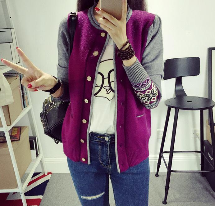 เสื้อคุลมคาดิกันทอลาย กระดุมไม้ สีม่วง(Purple)