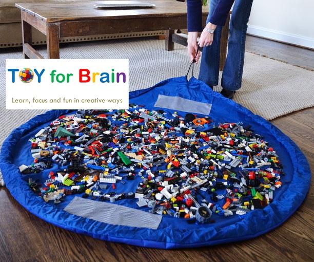 Portable Play Mat and Toy Storage Bag - Blue ถุงเก็บของเล่น ถุงเก็บLego