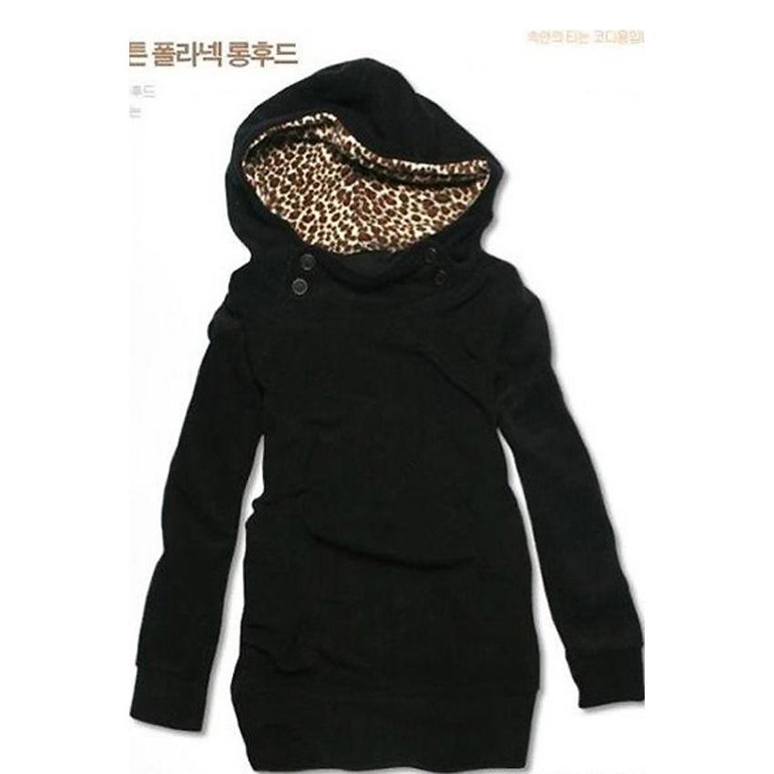 Sunwonder Autumn Women's Hoody Sweatshirt Top Outerwear CoatsHoodie Jacket (Black)